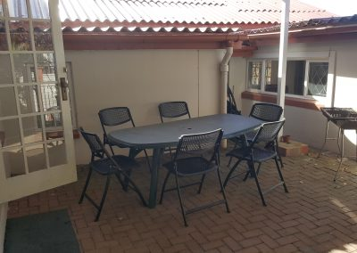 Private covered patio with braai